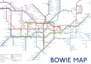 A metro map with bands and songs called Bowie Map