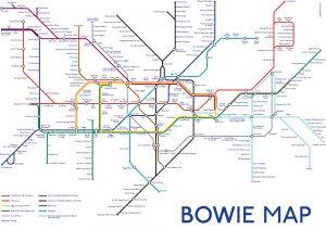 Et metrokart med band og låter kalt Bowie Map